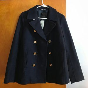 NWT J Crew Wool Cashmere Navy Peacoat, 10